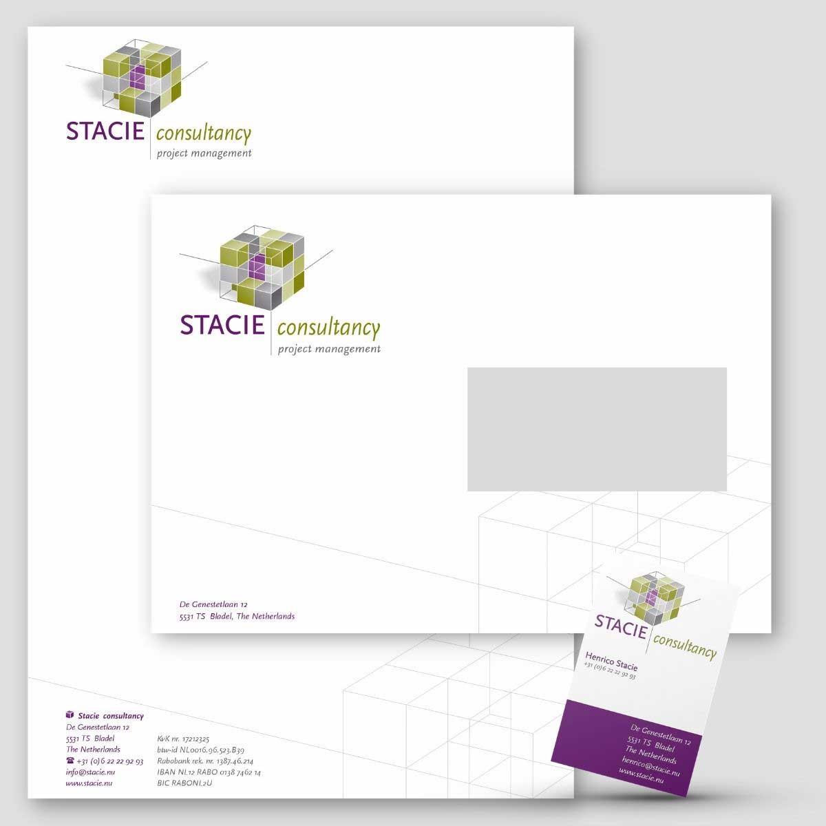 Ontwerp en DTP huisstijl Stacie consultancy.