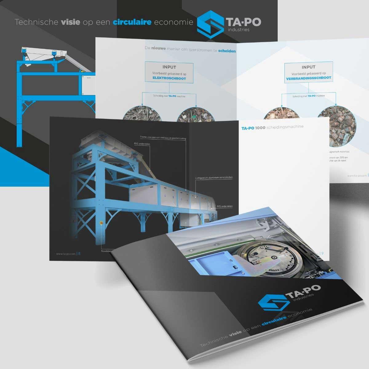 Grafisch ontwerp en DTP brochure, technische illustratie voor TA-PO.
