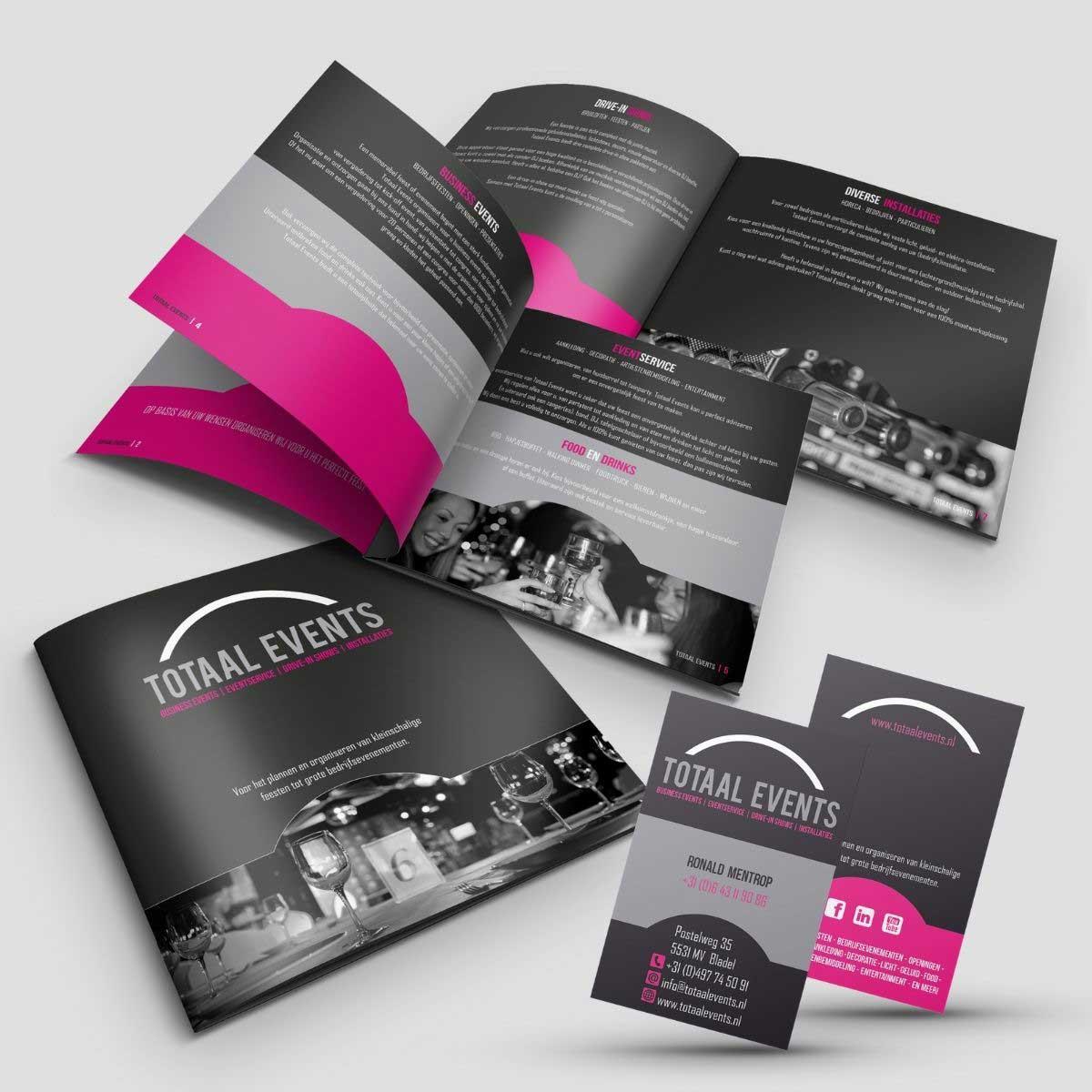Ontwerp en DTP brochure, visitekaartjes voor Totaal Events.