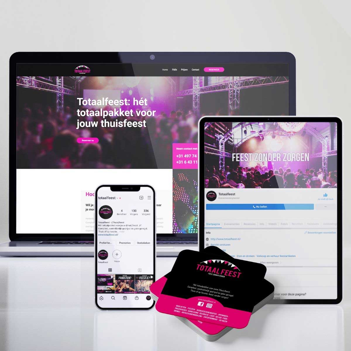 Website ontwerp, social media, online zichtbaarheid, bierviltjes voor Totaalfeest.