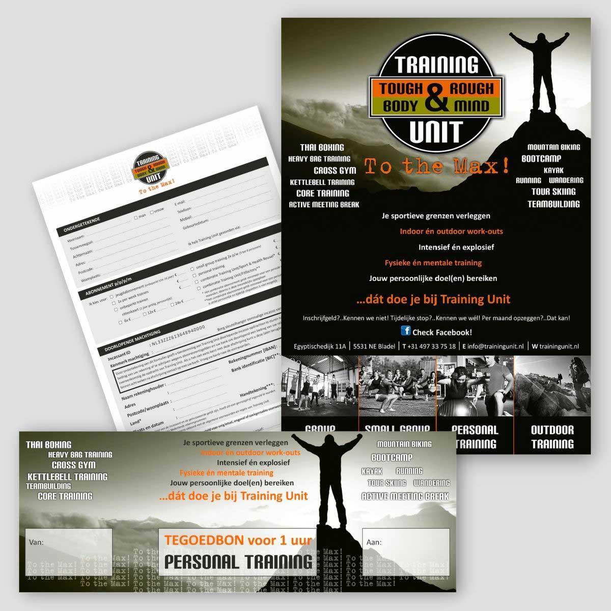 Grafisch ontwerp, DTP, poster, inschrijfformulier en tegoedbon Training Unit Bladel.