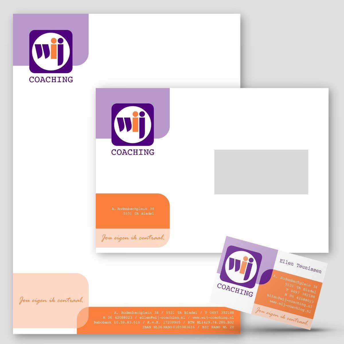 Grafisch ontwerp, DTP van huisstijl voor WIJ coaching.