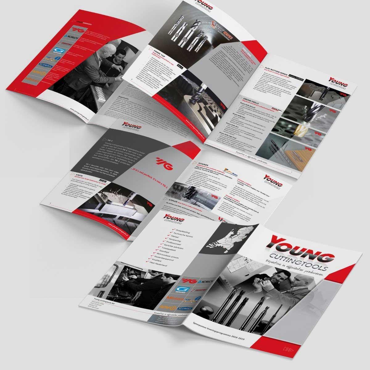 Grafisch ontwerp, drukwerk brochure voor Young Cuttingtools.