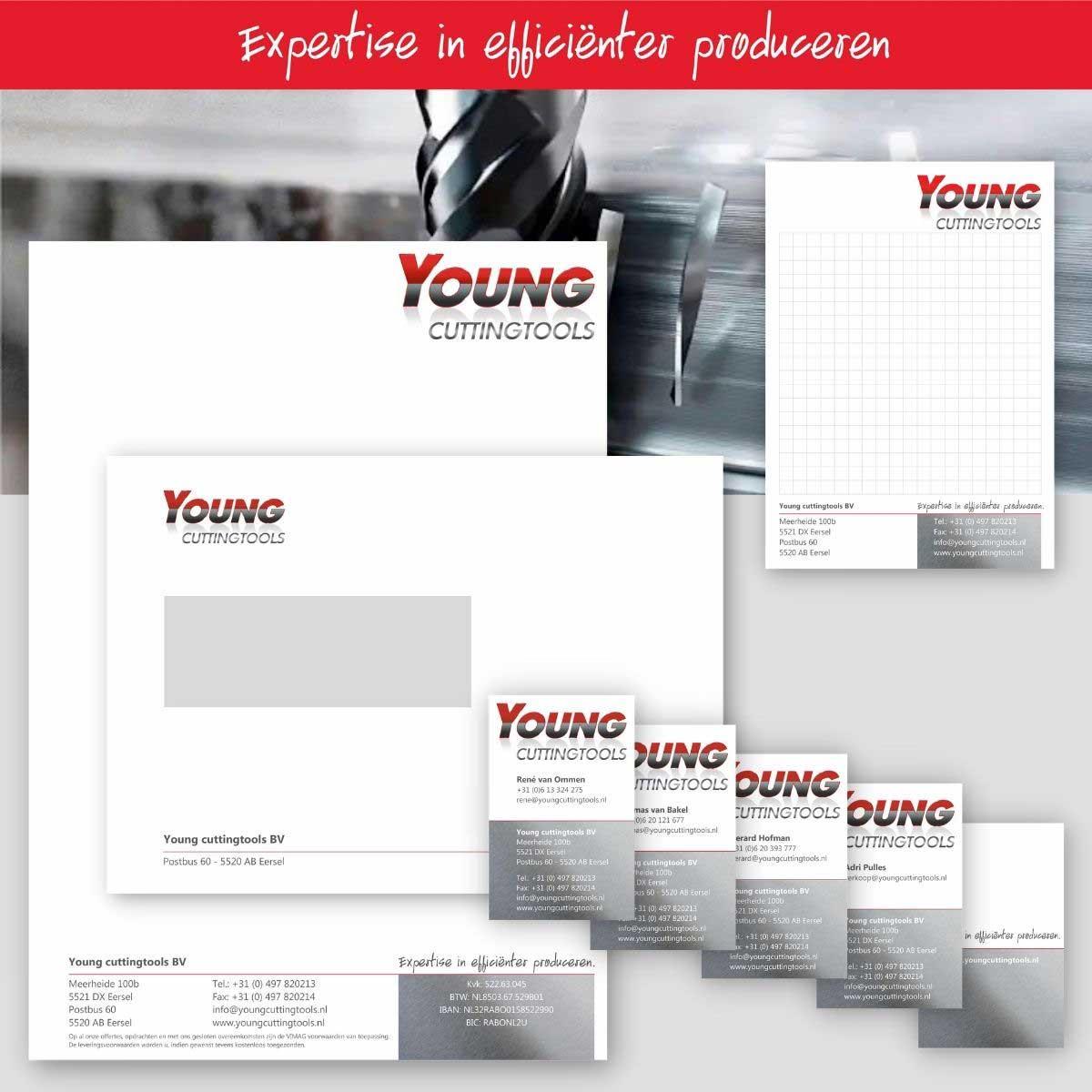 Grafisch ontwerp, DTP van complete huisstijl Young Cuttingtools.