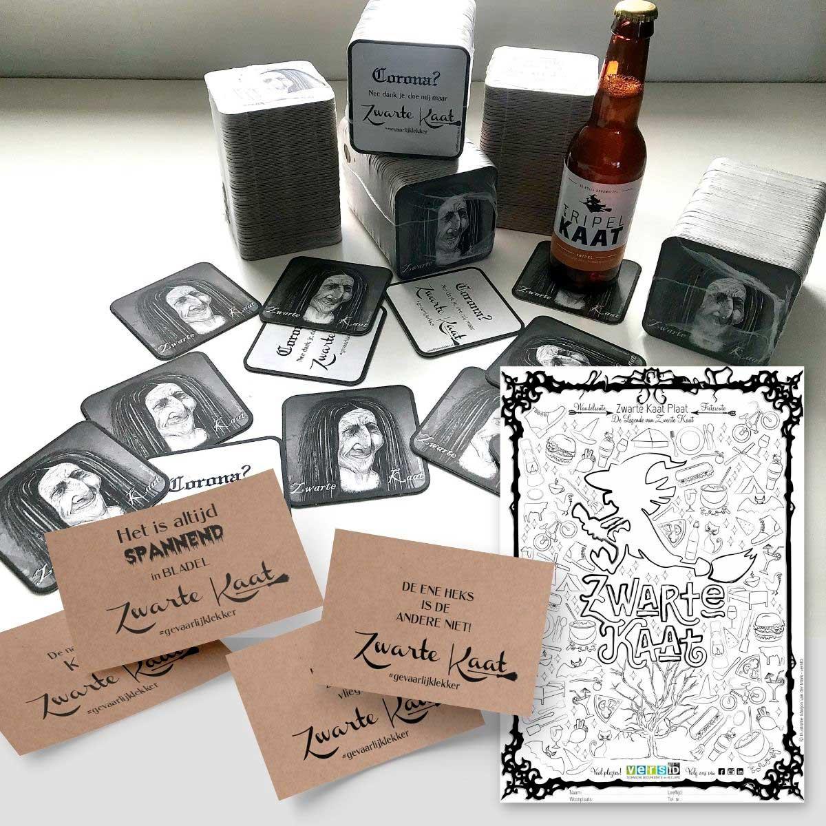Illustratie, bierviltjes, ansichtkaarten, drukwerk, en kleurplaat, Zwarte Kaart plaat, Zwarte Kaat.